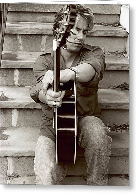 Guitar Man Greeting Cards - Portrait With Guitar 5 Greeting Card by Linnea Tober
