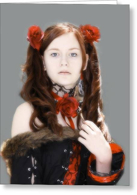 Photographs With Red. Greeting Cards - Portrait with Red Roses Greeting Card by Viktor Savchenko
