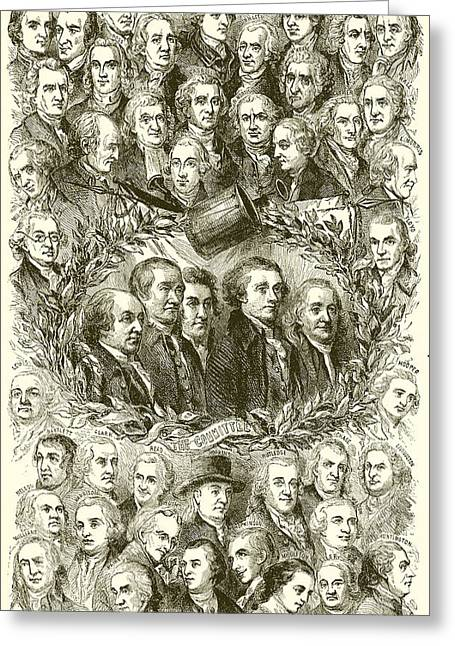 Portraits Of The Signers Of The Declaration Of Independence Greeting Card by American School