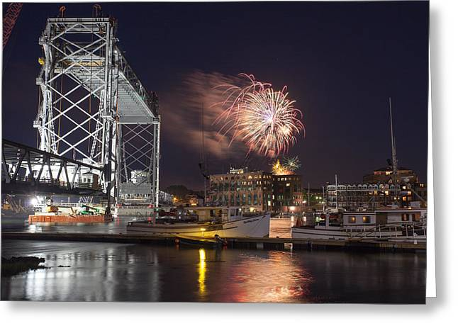 4th July Pyrography Greeting Cards - Portsmouth Fireworks Greeting Card by Stewart Mellentine