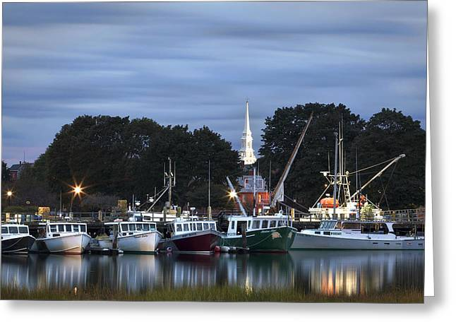 Portsmouth Fish Pier Greeting Card by Eric Gendron