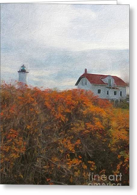 Buildings In The Harbor Greeting Cards - Portsmouth Harbor Lighthouse Greeting Card by Marcia Lee Jones