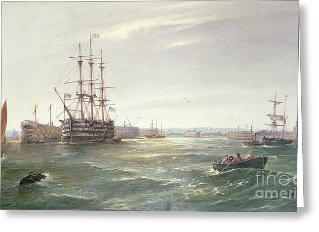 Yachting Greeting Cards - Portsmouth Harbour with HMS Victory Greeting Card by Robert Ernest Roe