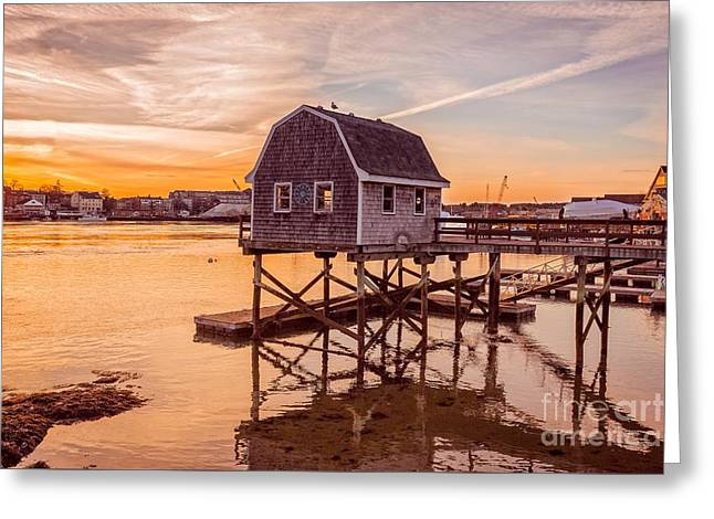 Portsmouth Sunset Greeting Card by Edward Fielding