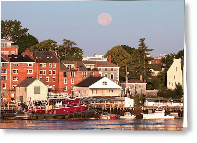 Portsmouth Tugs And Moon Greeting Card by Eric Gendron