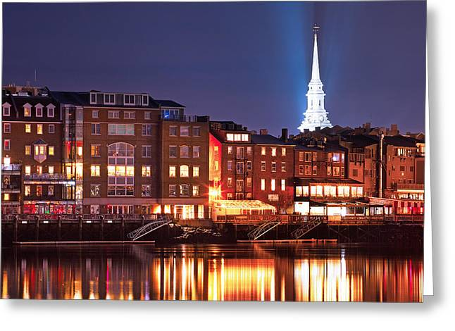 Maine Waterfront Greeting Cards - Portsmouth Waterfront at Night Greeting Card by Eric Gendron