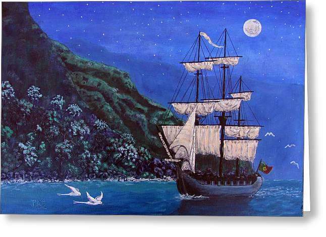 Sea Moon Full Moon Greeting Cards - Portuguese Explorers Greeting Card by Pete Souza