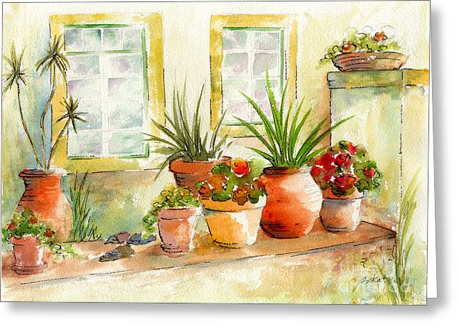 Portugal Paintings Greeting Cards - Portuguese Planters Greeting Card by Pat Katz