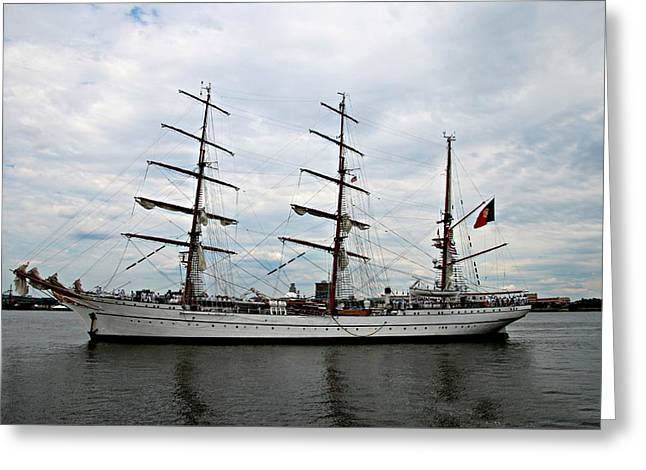 Stein Greeting Cards - Portuguese Tall ship coast guard Greeting Card by Valerie Stein