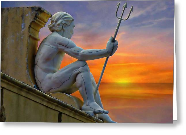 Greek Sculpture Greeting Cards - Poseidon - God of the Sea Greeting Card by Anthony Dezenzio