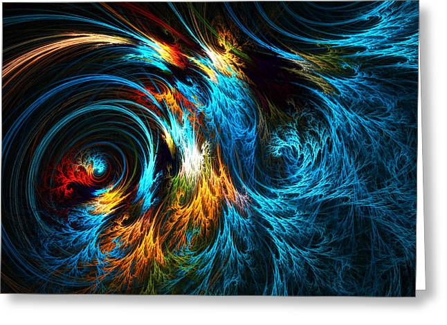 Abstract Seascape Digital Greeting Cards - Poseidons Wrath Greeting Card by Lourry Legarde