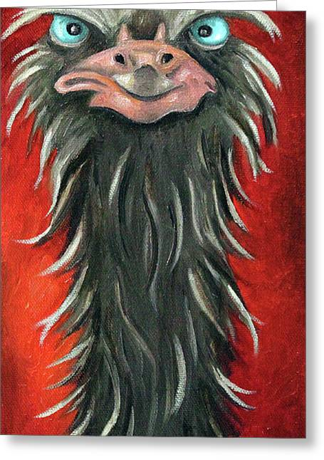 Ostrich Feathers Greeting Cards - Poser 3 Greeting Card by Leah Saulnier The Painting Maniac