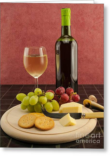 Red Wine Bottle Greeting Cards - Posh Snack Greeting Card by F Helm