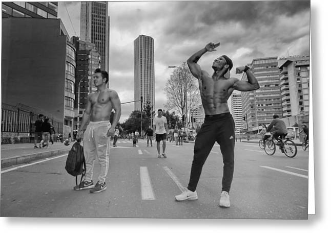Pretense Greeting Cards - Posing on the Street Greeting Card by Daniel Gomez