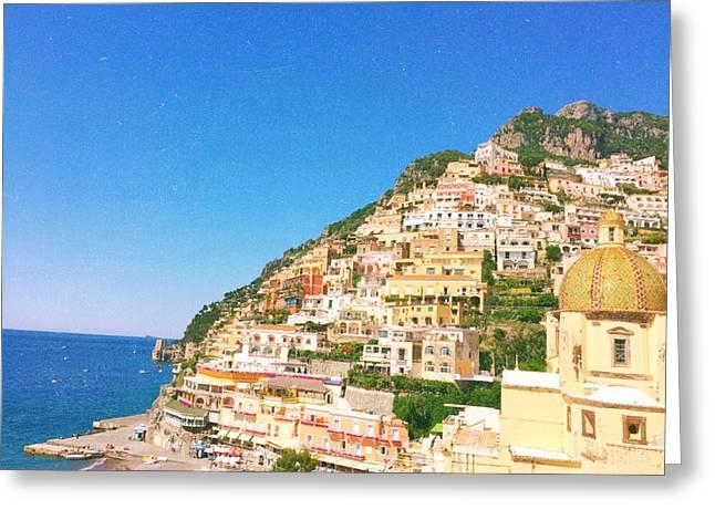 Amalfi Sunset Greeting Cards - Positano Beach Landscape Greeting Card by Ariane Moshayedi