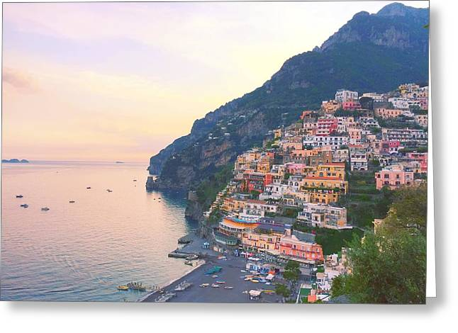 Amalfi Sunset Greeting Cards - Positano Beach Sunset 2 Greeting Card by Ariane Moshayedi
