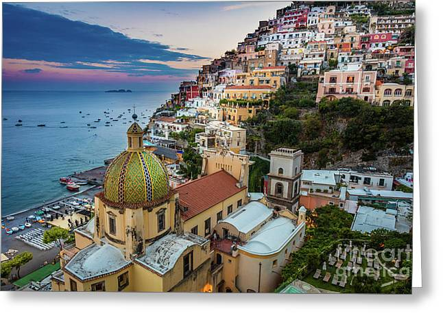 Positano Evening Greeting Card by Inge Johnsson