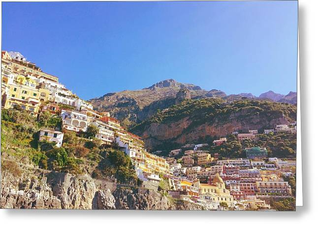 Green Umbrellas Greeting Cards - Positano from the water Greeting Card by Ariane Moshayedi