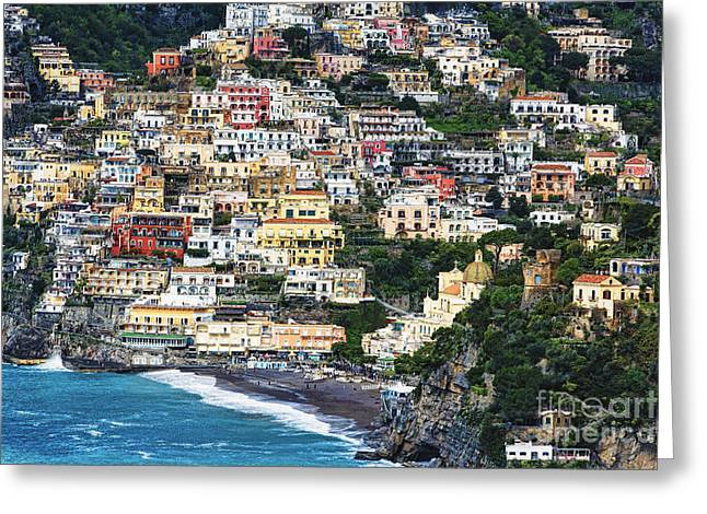 Historic Site Greeting Cards - Positano Houses and Beach from Above Greeting Card by George Oze
