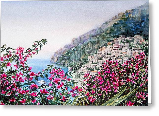 Sea View Greeting Cards - Positano Italy Greeting Card by Irina Sztukowski