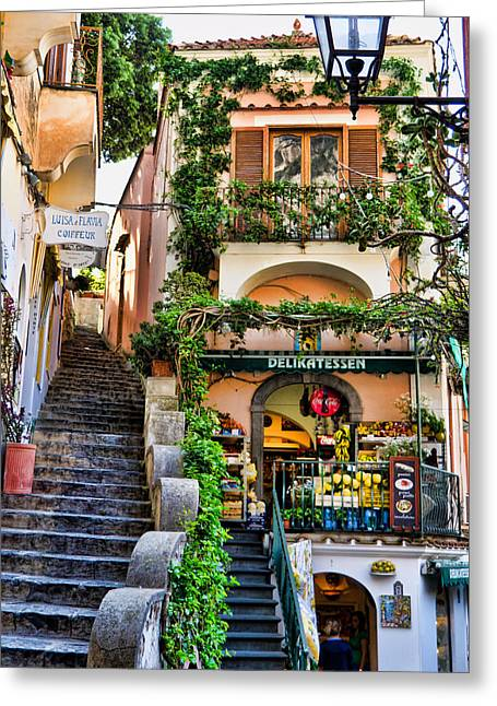 Positano Greeting Cards - Positano Shopping Greeting Card by Jon Berghoff