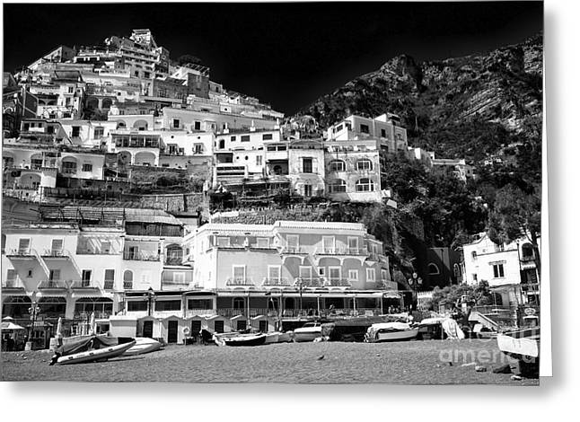 The Hills Greeting Cards - Positano Top View Greeting Card by John Rizzuto