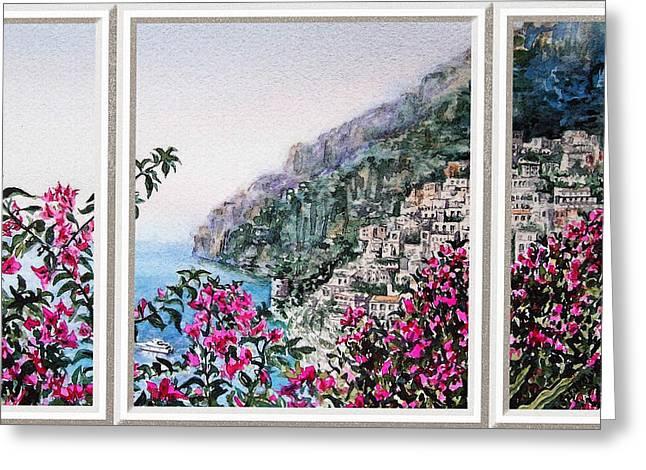 Next To Tree Greeting Cards - Positano Window View Greeting Card by Irina Sztukowski