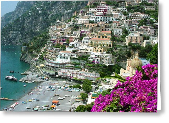 Positano's Beach Greeting Card by Donna Corless