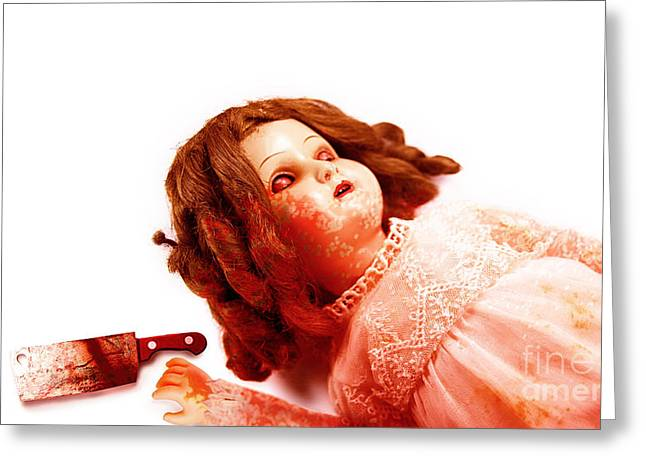 Butcher Knife Greeting Cards - Possessed Evil Doll Greeting Card by Ryan Jorgensen