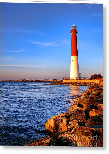 Guiding Light Greeting Cards - Postcard from Barnegat  Greeting Card by Olivier Le Queinec