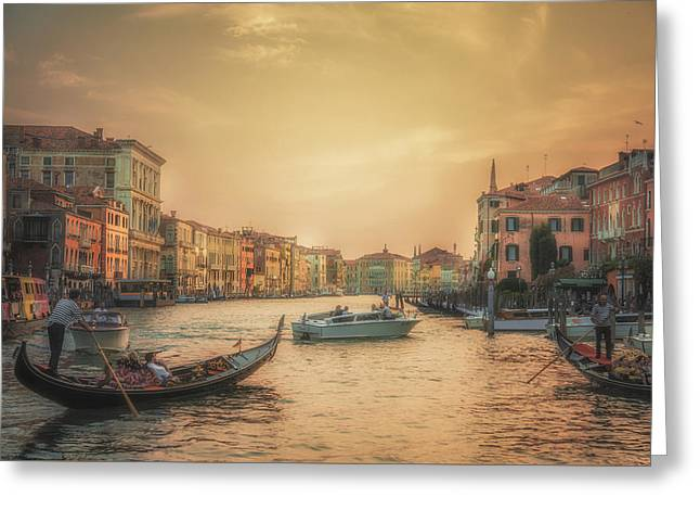 Italian Sunset Greeting Cards - Postcard from Venice Greeting Card by Chris Fletcher