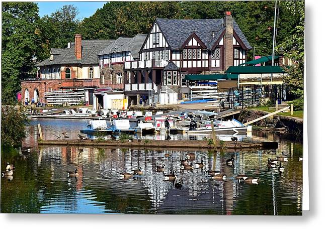 Postcard Perfect Boathouse Row Greeting Card by Frozen in Time Fine Art Photography