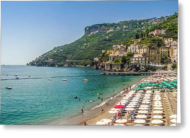People Greeting Cards - Postcard view of Amalfi, Amalfi Coast, Campania, Italy Greeting Card by JR Photography