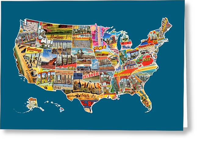 Postcard Mixed Media Greeting Cards - Postcards Of The United States Vintage USA All 50 States Map Greeting Card by Design Turnpike