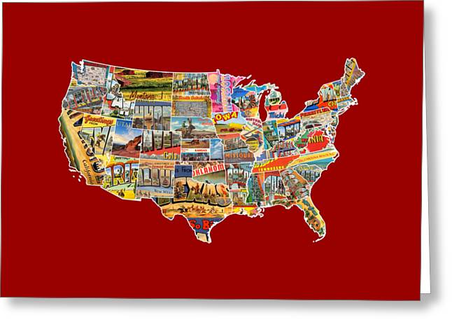 Road Trip Greeting Cards - Postcards of the United States Vintage USA Lower 48 Map Choose Your Own Background Greeting Card by Design Turnpike