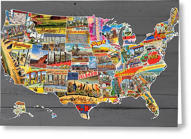 Old Postcards Greeting Cards - Postcards of the United States Vintage USA Map on Gray Wood Background Greeting Card by Design Turnpike