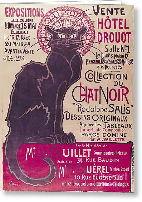 Advertisment Greeting Cards - Poster advertising an exhibition of the Collection du Chat Noir cabaret Greeting Card by Theophile Alexandre Steinlen