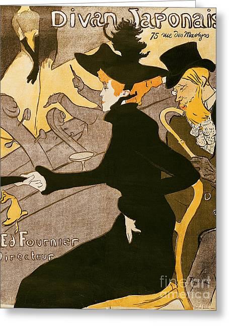 Divan Greeting Cards - Poster advertising Le Divan Japonais Greeting Card by Henri de Toulouse Lautrec