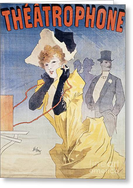 Vintage Hats Greeting Cards - Poster Advertising the Theatrophone Greeting Card by Jules Cheret