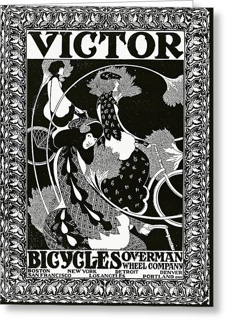 Ladies Bike Greeting Cards - Poster advertising Victor Bicycles Greeting Card by William Bradley