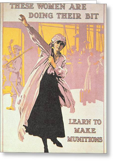 Factory Workers Greeting Cards - Poster depicting women making munitions  Greeting Card by English School
