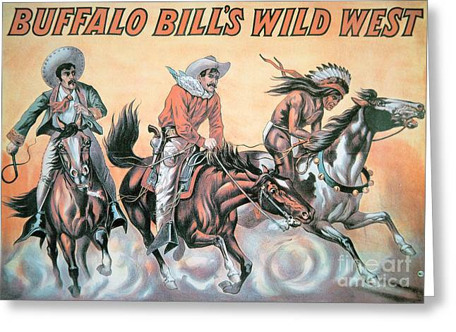 Wild Horses Greeting Cards - Poster for Buffalo Bills Wild West Show Greeting Card by American School