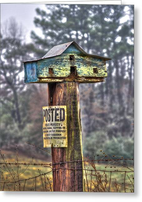 No Trespassing Greeting Cards - Poster Keep Out Bird House Greeting Card by Reid Callaway