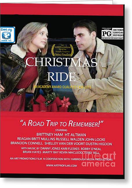Christmas Art Greeting Cards - Christmas Ride Poster with Ratings Greeting Card by Karen Francis