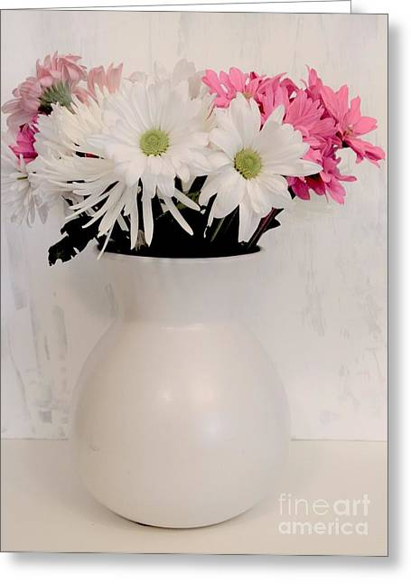 Pink Flower Prints Greeting Cards - Pot of Spring Flowers Greeting Card by Marsha Heiken