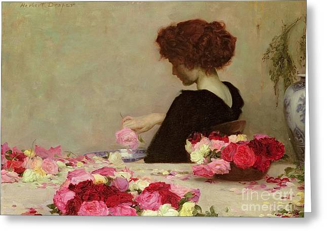 Red Petals Greeting Cards - Pot Pourri Greeting Card by Herbert James Draper