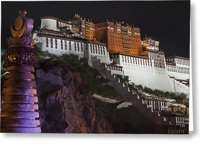 Asian Culture Greeting Cards - Potala Palace At Night. Historic Greeting Card by Phil Borges