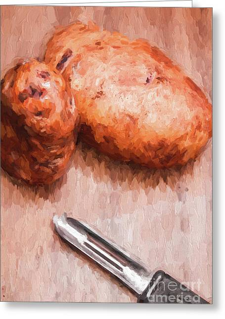 Potatoes And Peeler Cooking Digital Sketch Greeting Card by Jorgo Photography - Wall Art Gallery