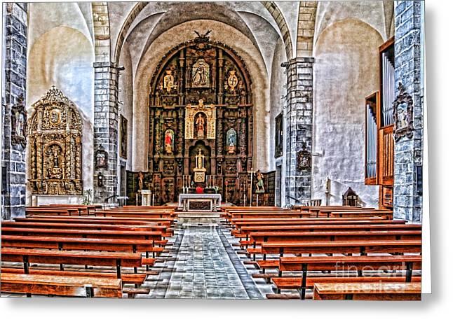The Church Greeting Cards - Potes 155A7852 Iglesia San Vicente Greeting Card by Diana Sainz