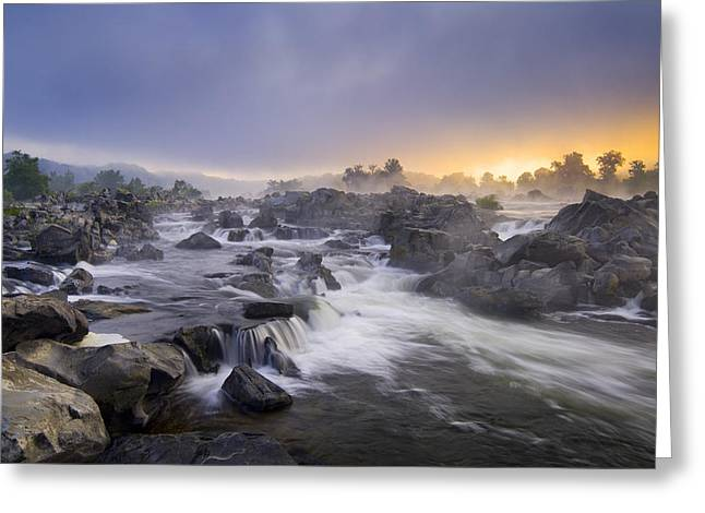 """great Falls"" Greeting Cards - Potomac Light Greeting Card by Joseph Rossbach"